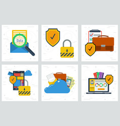 Six concepts - data protection and encryption vector