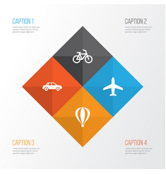 Shipment icons set collection of aircraft vector