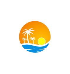 sunset tropic palm tree beach travel logo vector image