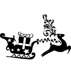 Reindeer and sleigh with presents vector