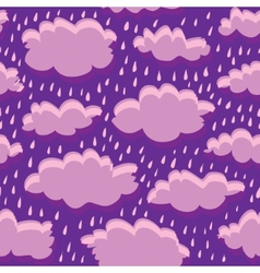 Seamless pattern of clouds and rain vector