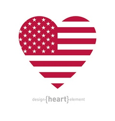 Heart with american flag color and symbols vector