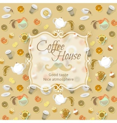 Coffee shop label on food and drink background vector