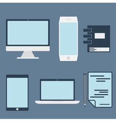 Flat design office elements and computer tablet vector