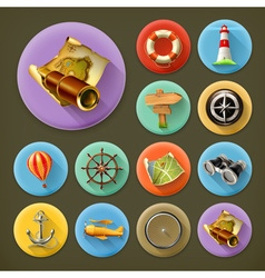 Navigation long shadow icon set vector