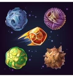 Fantastic planets moons asteroid sci-fi starry vector
