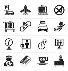 Black airport and transportation icons vector