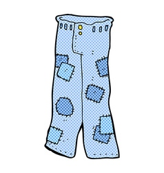 Comic cartoon patched old jeans vector