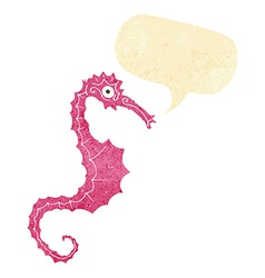 Cartoon sea horse with speech bubble vector