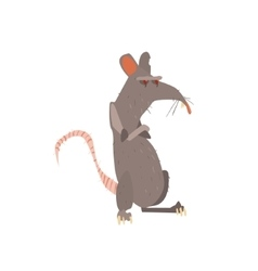 Rat standing on two legs with arms crossed flat vector