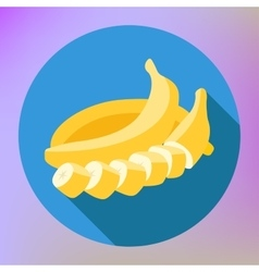 Sliced banana flat long shadow vector