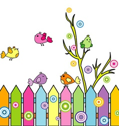 Card with cartoon birds on a fence vector image vector image