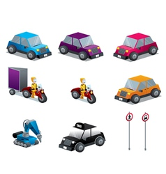 Cars Motorcycles and traffic signs set isometric vector image vector image