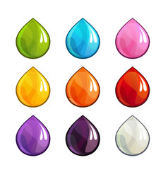 Cartoon colorful drops icons set vector