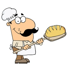 Caucasian cartoon bread baker man vector