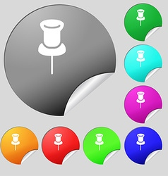 Clip icon sign set of eight multi colored round vector