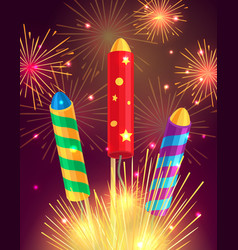 colourful exploding rockets on bright background vector image vector image