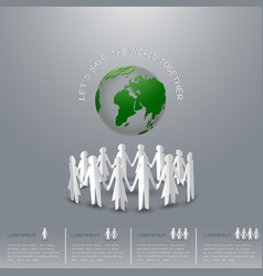 Concept of save the earth people holding hand vector