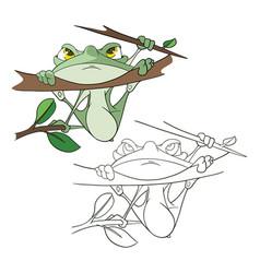 Cute green frog cartoon character vector