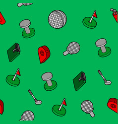 Golf flat outline isometric pattern vector