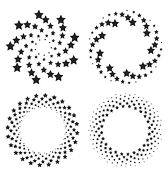 Halftone circles of stars twisted spiral vector image vector image