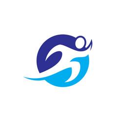 human run circle logo image vector image vector image