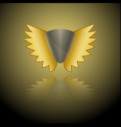 Image of a gray shield logo with golden wings on vector