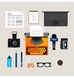 Journalist press icon objects isolated vector