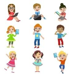 Kids and modern technology vector