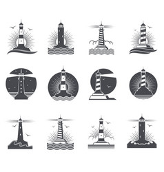 lighthouse marine vintage labels vector image