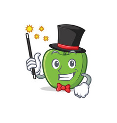 Magician green apple character cartoon vector
