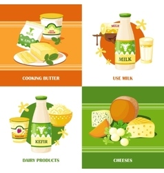 Milk and cheese 2x2 design concept vector