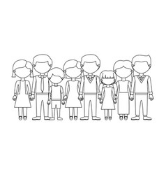 Monochrome silhouette with faceless family group vector