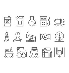 oil and petrol industry objects icons vector image