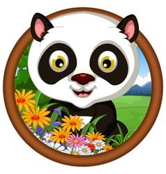 panda cartoon in frame vector image vector image