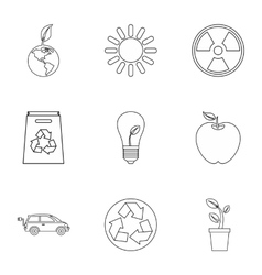Purity of nature icons set outline style vector