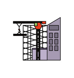 scaffold and tower crane vector image