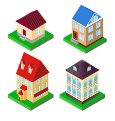set of houses in perspective vector image vector image