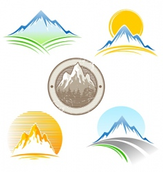 set of mountains emblem vector image vector image