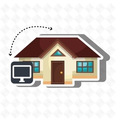 Smart home with computer isolated icon design vector
