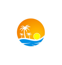 sunset tropic palm tree beach travel logo vector image