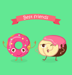 sweets best friends doughnut and swiss roll vector image vector image