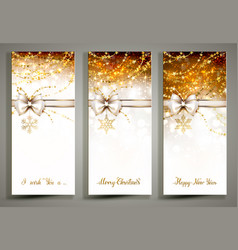 Three gold christmas greeting cards with bow vector