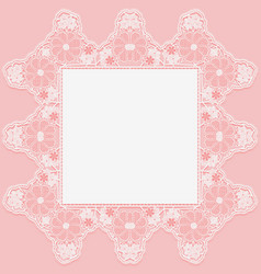 Vintage lace doily with knotted flowers on pink vector