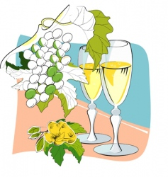 wine glasses and grapes vector image vector image
