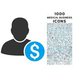 Businessman icon with 1000 medical business icons vector