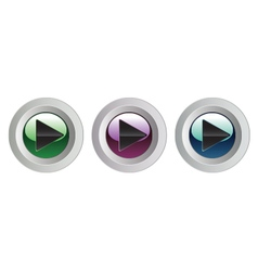 Set of play buttons on white background vector