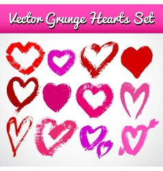 Grunge hearts on white background set vector image