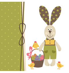 Happy easter greeting card with bunny boy vector
