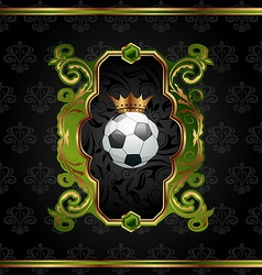 Football label with golden crown vector image